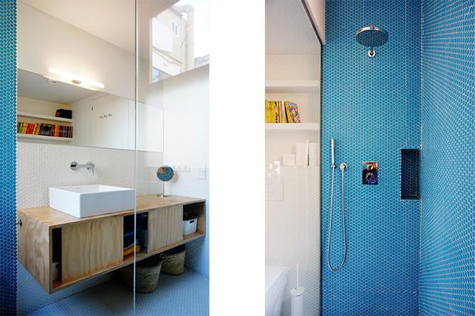 baño bicolor gresite hexagonal.